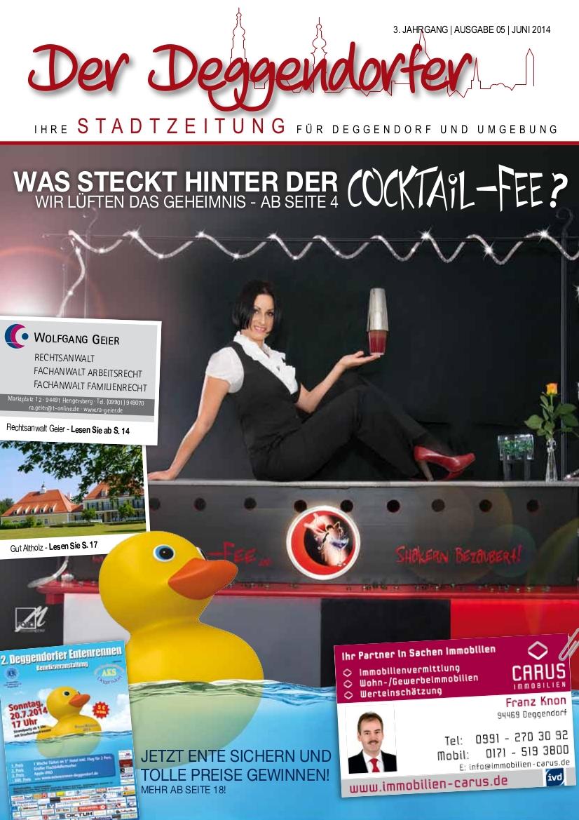 Die Cocktail-Fee ist Titelthema der Stadtzeitung, Juni 2014